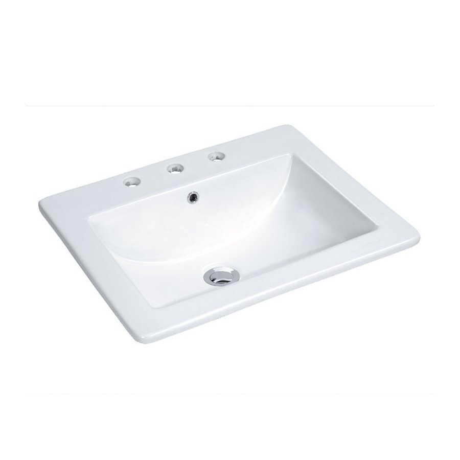 """Miseno 18"""" Drop In Bathroom Sink with 3 Holes Drilled and Overflow - White MMLD21183W"""