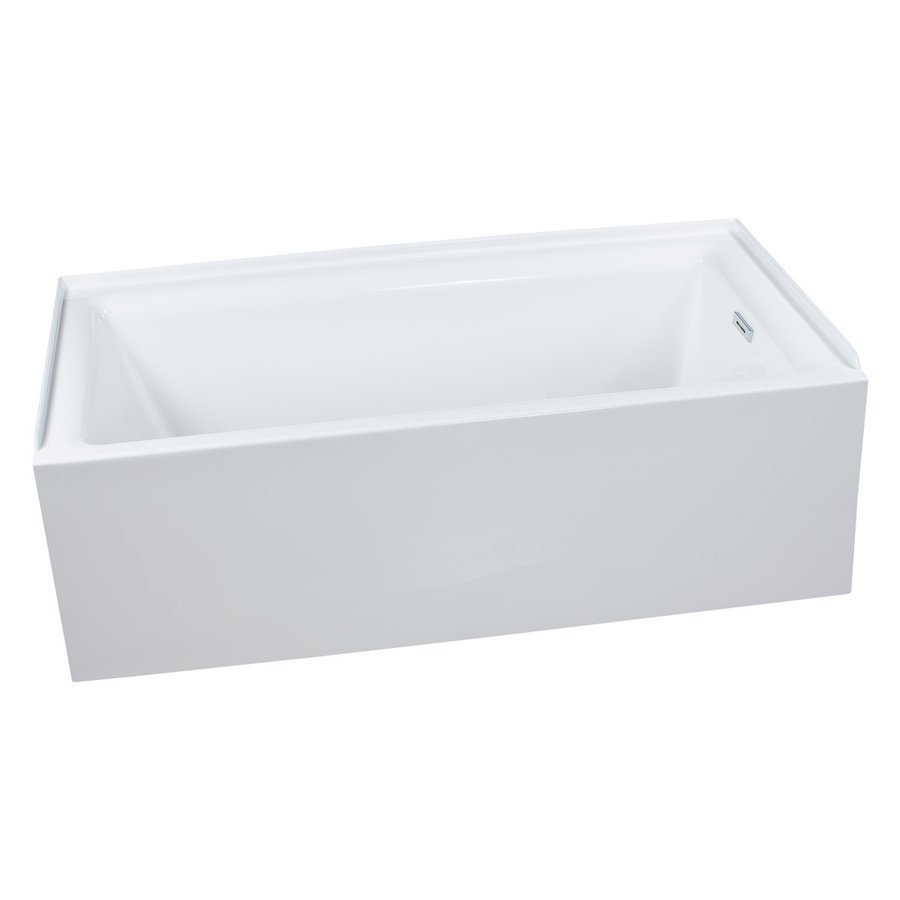 "Miseno Vitality 60"" Alcove Soaking Bathtub with Self-Leveling Base - Overflow Drain Trim Kit Included Free - White MNO3060WASRWH"