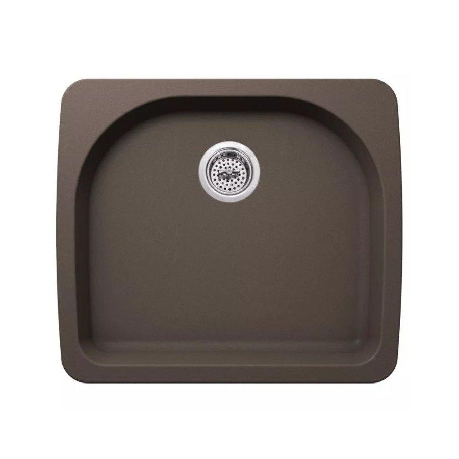 "Miseno Carolina 25"" Single Basin Drop In or Undermount Granite Composite Kitchen Sink - Basket Strainer Included - Brown MMGR2522BR"
