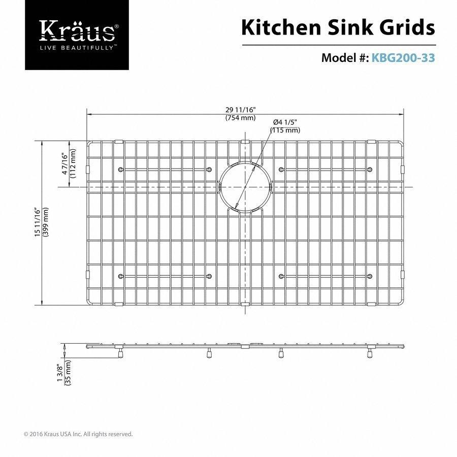 Kraus Bottom Grid for KHF200-33 Kitchen Sink Stainless Steel KBG-200-33