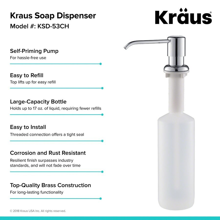 Kraus 17 oz. Chrome Soap Dispenser KSD-53CH