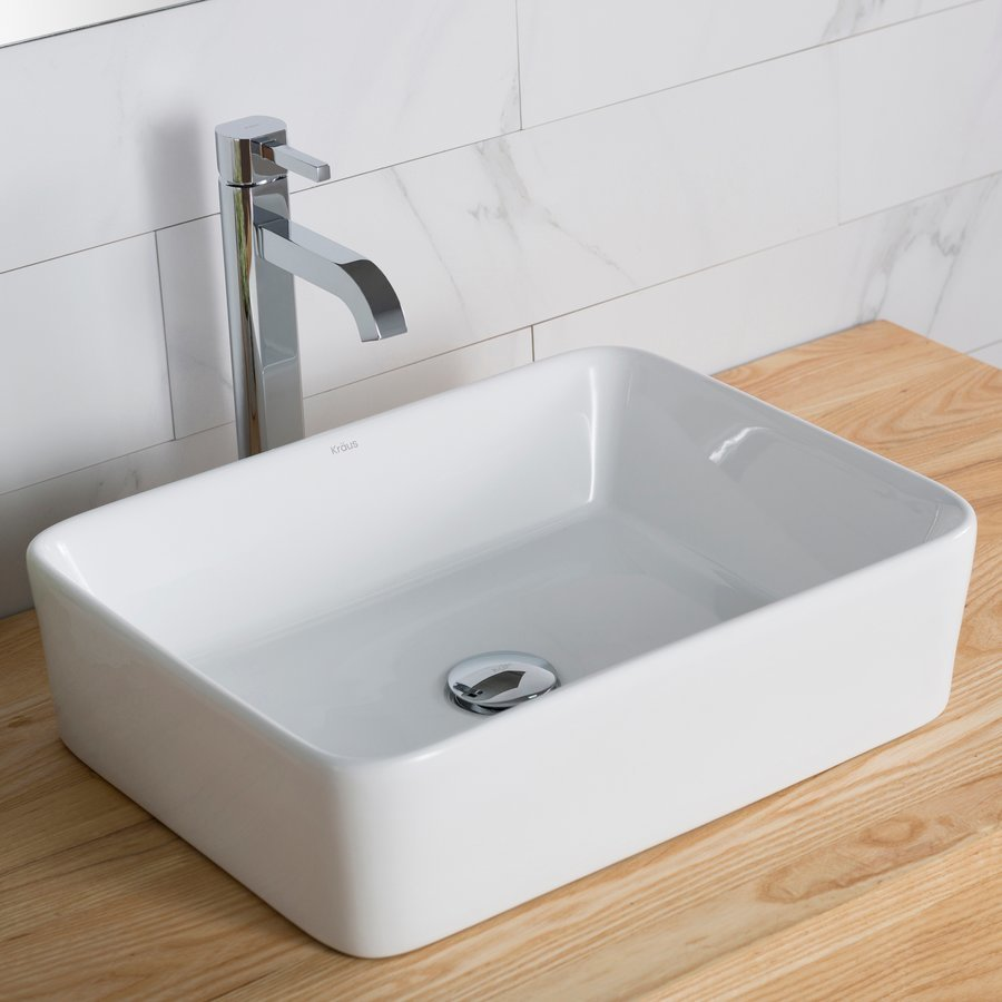"Kraus 19"" White Rectangular Vessel Sink w/ Faucet - White/Chrome C-KCV-121-1007CH"