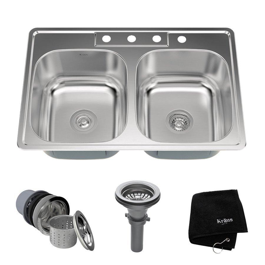 "Kraus 33"" Top Mount Double Bowl Kitchen Sink-Stainless Steel KTM33"