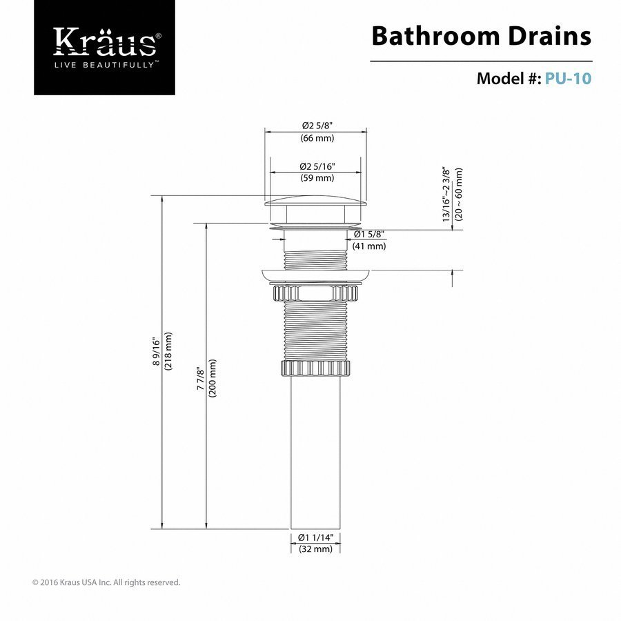 Kraus Vessel Sink Pop-Up Drain Chrome PU-10CH