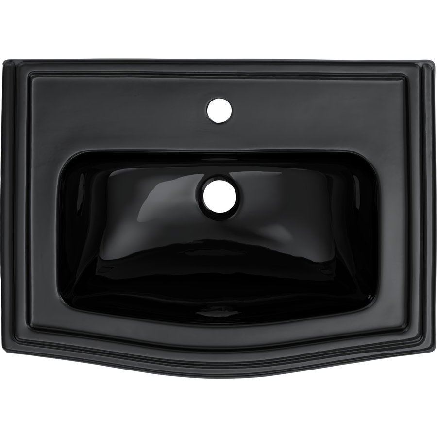 TOTO Clayton Rectangular Self-Rimming Drop-In Bathroom Sink for Single Hole Faucets, Ebony LT781#51