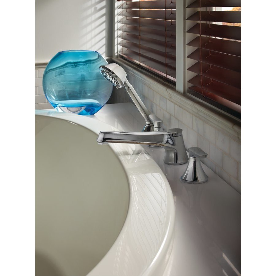 TOTO Wyeth Two Handle Deck-Mount Roman Tub Filler Trim With Hand Shower - Polished Chrome TB230S#CP