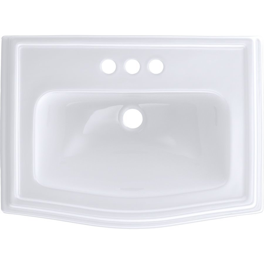 TOTO Clayton Rectangular Self-Rimming Drop-In Bathroom Sink for 4 Inch Center Faucets, Cotton White LT781.4#01