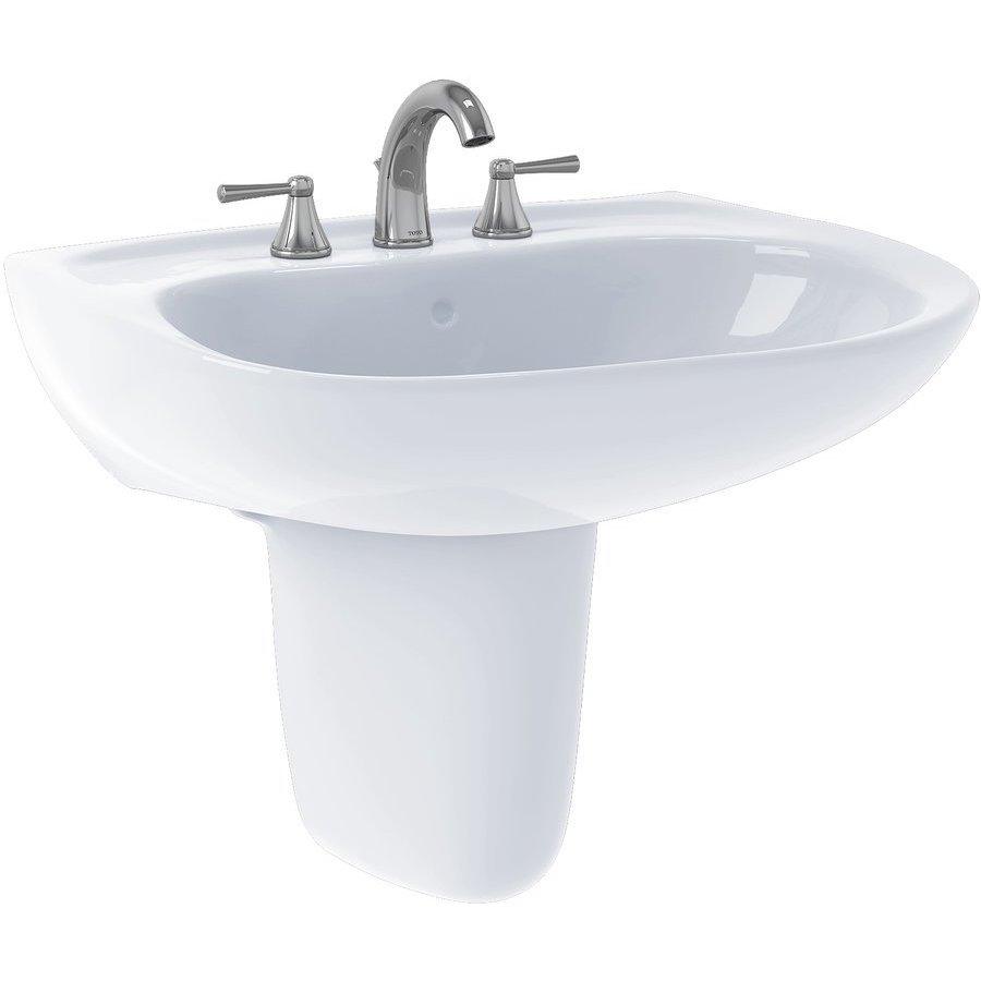 TOTO Prominence Oval Wall-Mount Bathroom Sink with CeFiONtect and Shroud for 4 Inch Center Faucets, Cotton White LHT242.4G#01