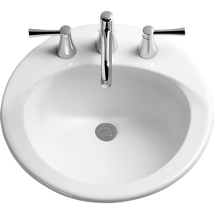 TOTO Ultimate Round Self-Rimming Drop-In Bathroom Sink with CeFiONtect for 4 Inch Center Faucets, Cotton White LT512.4G#01