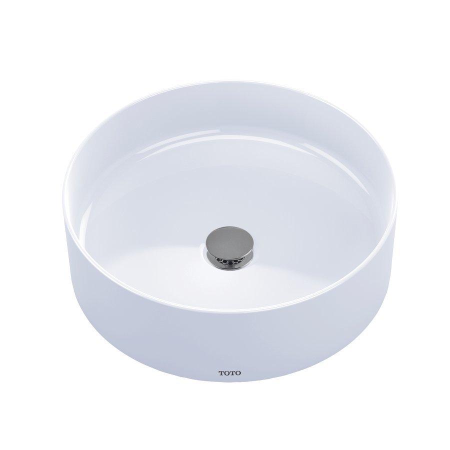 """TOTO Arvina 16-9/16"""" Round Vessel Bathroom Sink - Cotton White LT573#01"""