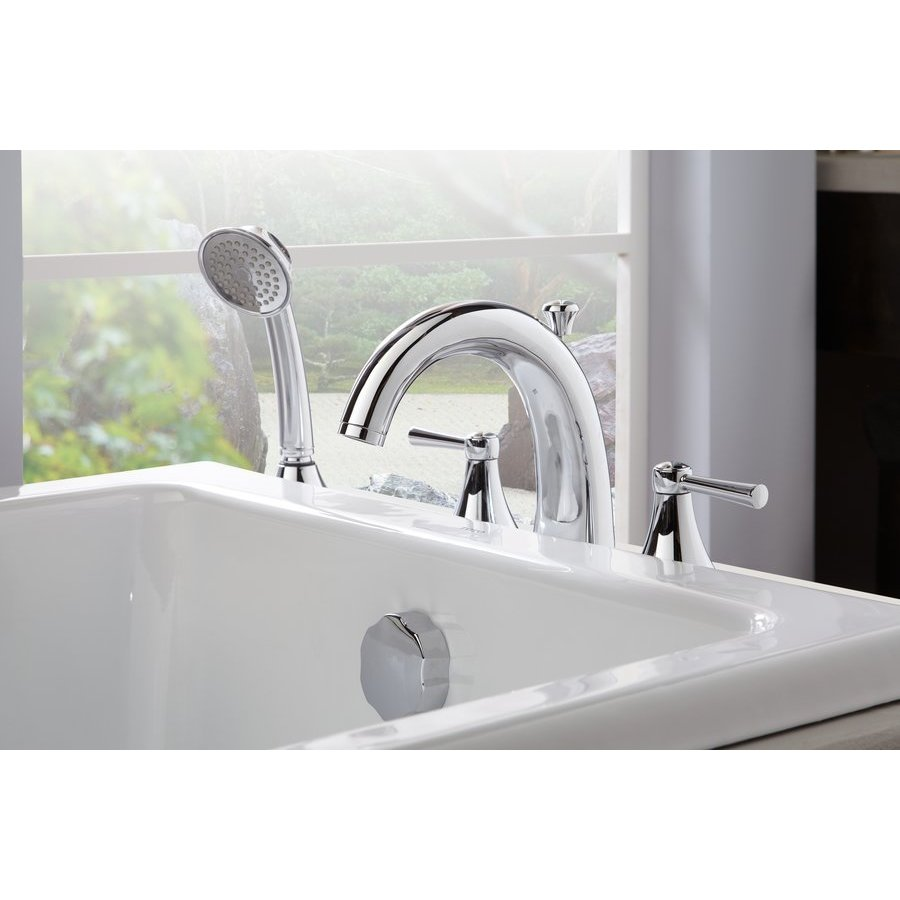 TOTO Silas Two-Handle Deck-Mount Roman Tub Filler Trim With Handshower - Polished Chrome TB210S#CP
