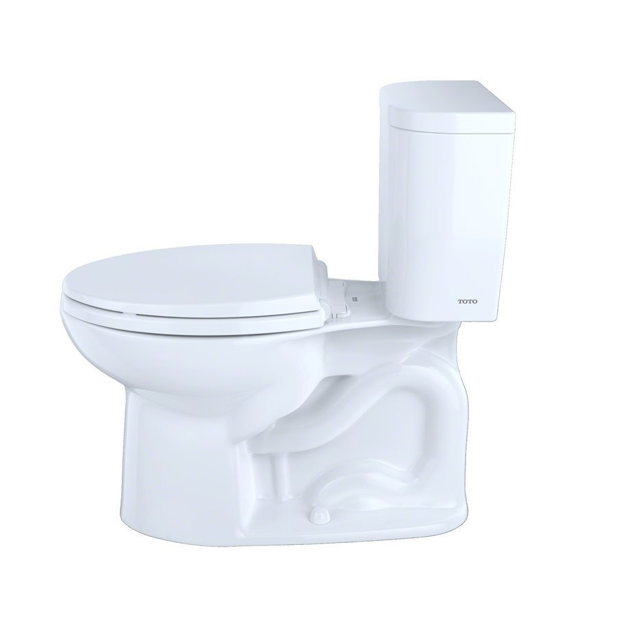 TOTO Entrada Two-Piece Elongated 1.28 GPF Universal Height Toilet - Cotton White CST244EF#01