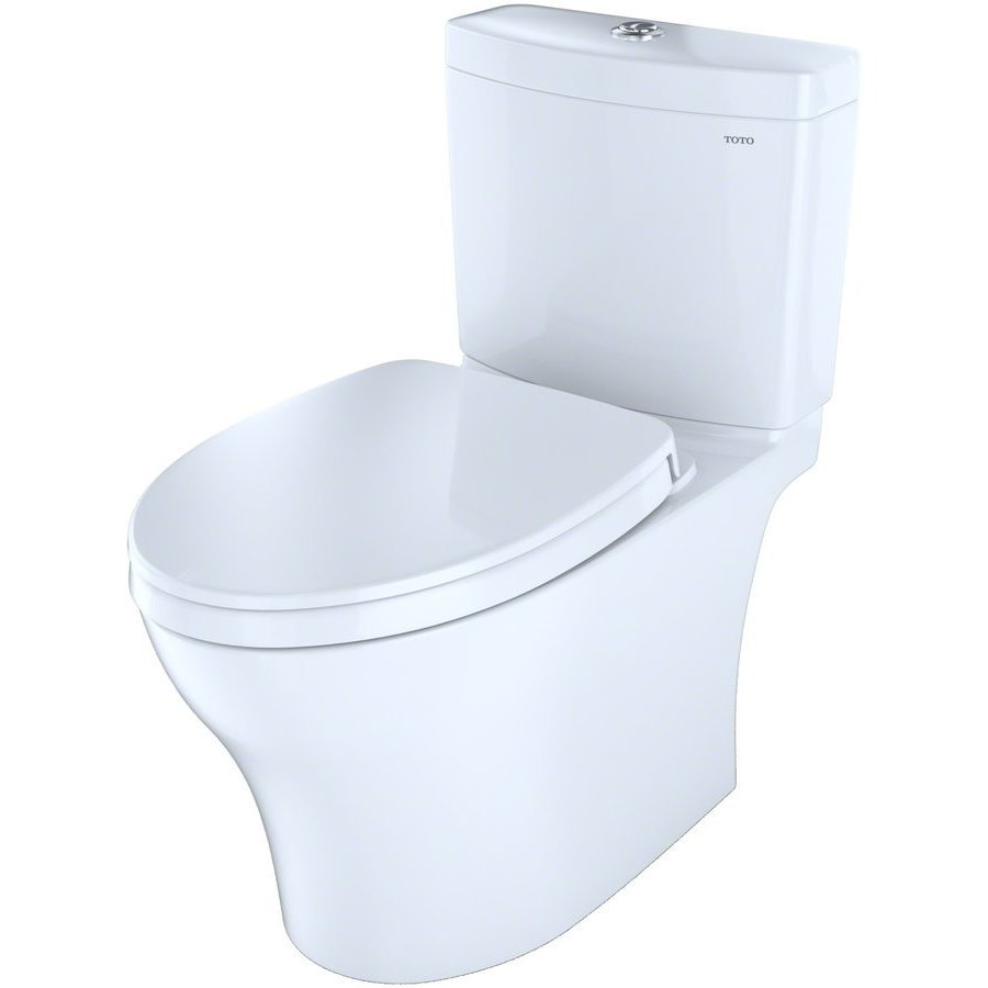 TOTO Aquia IV Two-Piece Elongated Dual Flush 1.28 and 0.8 GPF Skirted Toilet with CeFiONtect, Cotton White CST446CEMG#01