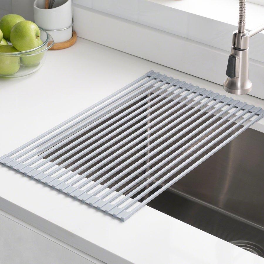 Kraus Multipurpose Over Sink Roll-Up Dish Drying Rack Gray KRM-10GREY