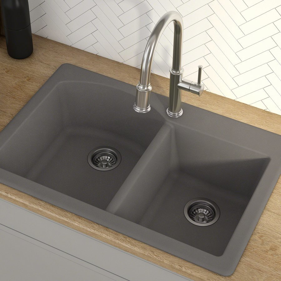 "Kraus Fortenza 33"" Dual Mount Kitchen Sink-Grey Granite KGD-50GREY"