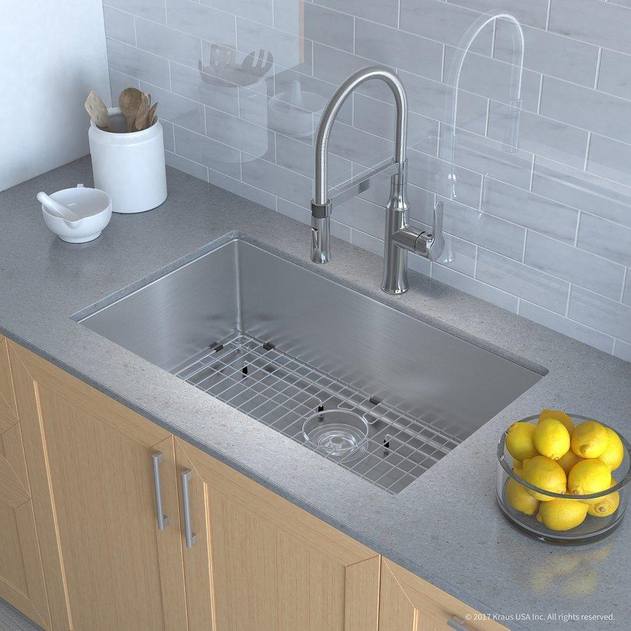 """Kraus 32"""" Undermount Single Bowl Kitchen Sink Package Chrome KHU100-32-1640-42CH"""