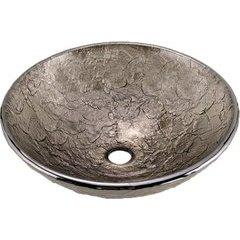 16 Inch Diameter Glass Vessel Bathroom Sink - Black Nickel