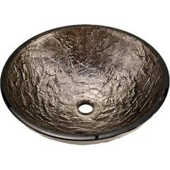 15 Inch Diameter Glass Vessel Bathroom Sink - Platinum