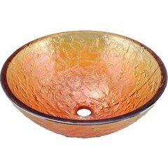 17 Inch Diameter Glass Vessel Bathroom Sink - Gold Reflections