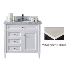 "36"" Brittany Single Vanity w/Galala Beige Top- Cottage White"