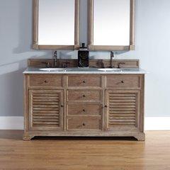 "60"" Savannah Double Vanity w/ Carrara White Top-Driftwood"