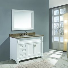 "48"" Hudson Single Sink Bathroom Vanity w/ Marble Top - White"
