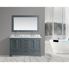 "61"" Omega Double Sink Bathroom Vanity Set-Gray"