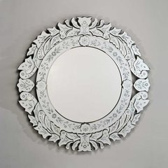 """Radiance Venetian 33"""" Wall Mount Round Mirror - Etched"""
