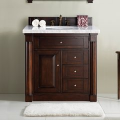 "36"" New Haven Single Vanity w/ Santa Cecilia Top-Burn Mahog"