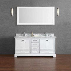 "72"" Chanel Double Vanity - White/Carrara White Top"
