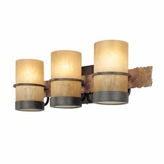 Bamboo 3 Light Bathroom Vanity Light - BambooBronze/Slate