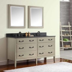 "61"" Delano Double Vanity - Taupe Glaze w/ Black Top"