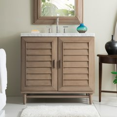 "36"" Portland Single Vanity Cabinet Only-White Washed Walnut"