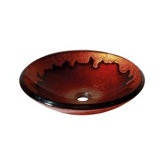 "18"" Diameter Round Vessel Bathroom Sink - Gold Lava"