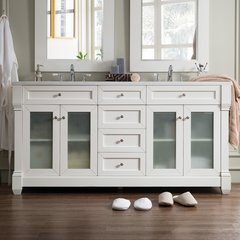 "72"" Weston Double Vanity w/ Arctic Fall Top-Cottage White"
