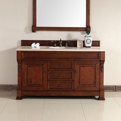 "60"" Brookfield Single Vanity w/ Galala Beige Top-Warm Cherry"