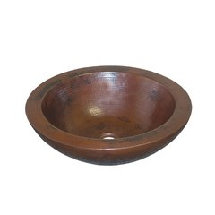 "16"" Round Laguna Vessel Bathroom Sink - Antique Copper"