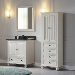 "31"" Thompson Single Vanity - French White w/ Black Top"