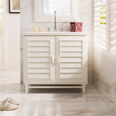 "36"" Portland Single Vanity Cabinet Only-Cottage White"
