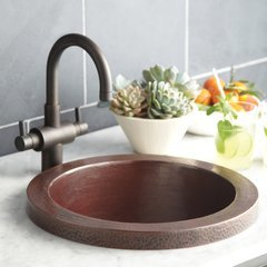 "19"" Mojito Raised Profile Drop-In Bar Sink - Antique Copper"