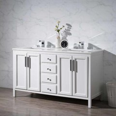 "59"" Emily Double Vanity - White/White Quartz Top"