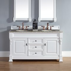 "60"" Brookfield Double Vanity w/ Santa Cecilia Top-Cott White"