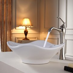 "15"" White Tulip Vessel Sink w/ Faucet- White/Brushed Nickel"