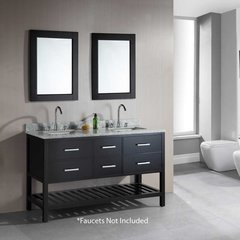 "61"" London Double Sink Bathroom Vanity - Espresso"