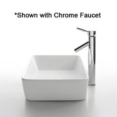"19"" White Rectangular Vessel w/ Faucet - White/Satin Nickel"