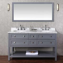"60"" Marla Single Vanity - Gray/Carrara White Top"