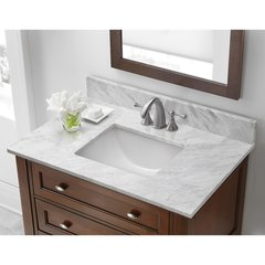 "31"" x 19"" Single Bowl Vanity w/ Trough Basin - Carrara White"