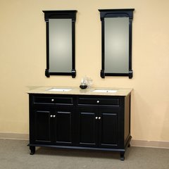"62"" Double Sink Bathroom Vanity - Ebony/Travertine Top"