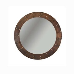 "34""Dia. Round Copper Wall Mount Mirror - Oil Rubbed Bronze"