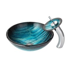 "17"" Ladon Vessel Sink w/ Faucet - Multicolor/Chrome"